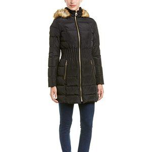Cinched Waist Down Puffer Hooded Coat